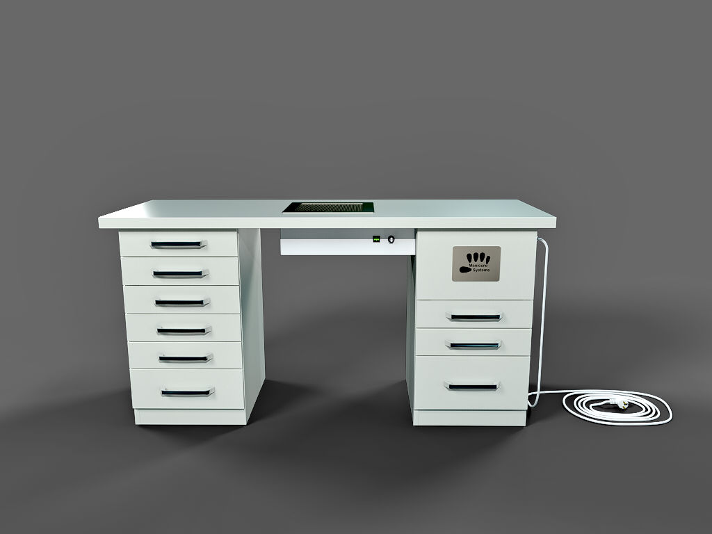 Slick nail desk with build-in nail dust and odour collector. Lot of configurations to choose.